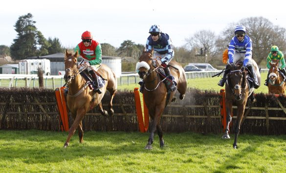 William Henry and Nico De Boinville [right] win the National Spirit Hurdle at Fontwell for Nicky Henderson from Quel Destin [left] and Thomas Darby [centre]. Photo: Steve Davies