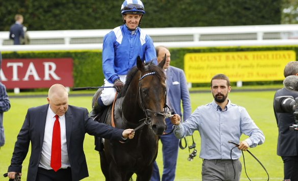 Khaadem and Jim Crowley win the Stewards Cup at Goodwood. Photo: Steve Davies