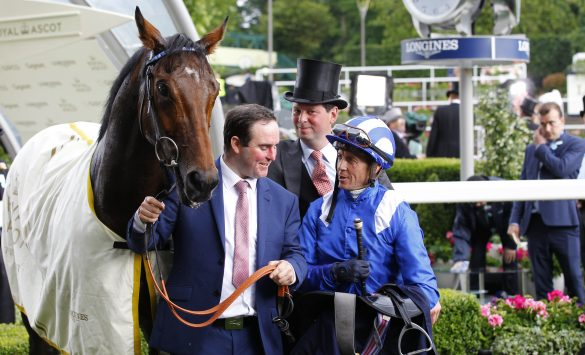 Afaak in the winners enclosure after winning the Royal Hunt Cup at Royal Ascot for trainer Charles Hills. Photo: Steve Davies