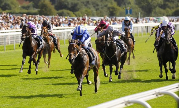 Battaash and Jim Crowley win the Coolmore Nunthorpe Stakes at York for trainer Charles Hills. Photo: Steve Davies