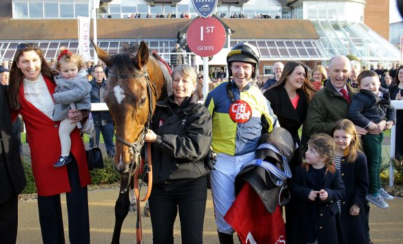 Noel Fehily after winning on Get In The Queue in the Goffs Bumper at Newbury his final ride before retirement. Photo: Steve Davies