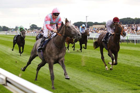 Phoenix Of Spain and Jamie Spencer win the Tattersalls Acomb Stakes at York. Photo: Steve Davies