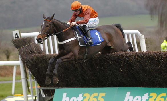 Lust For Glory and James Bowen jump the last to win the EBF Mares' Novices' Chase at Ludlow. Photo: Steve Davies