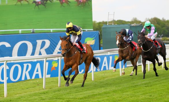 Sweet Reward and Rob Hornby win the Play Coral For Free Handicap at Sandown from Noble Masquerade, Winklevi and Bad Company.  Photo: Steve Davies